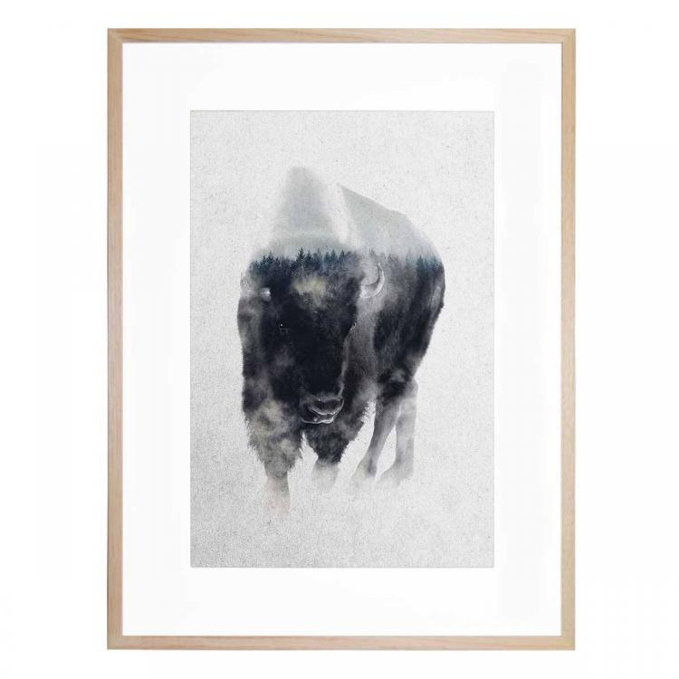 Bison In The Mist - Print