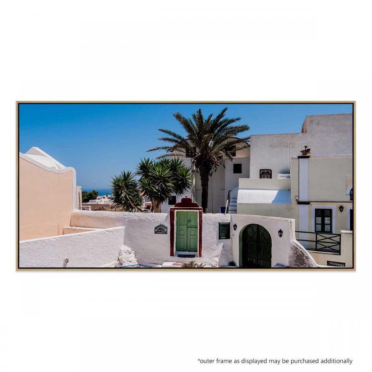 Green Door In Santorini - Print