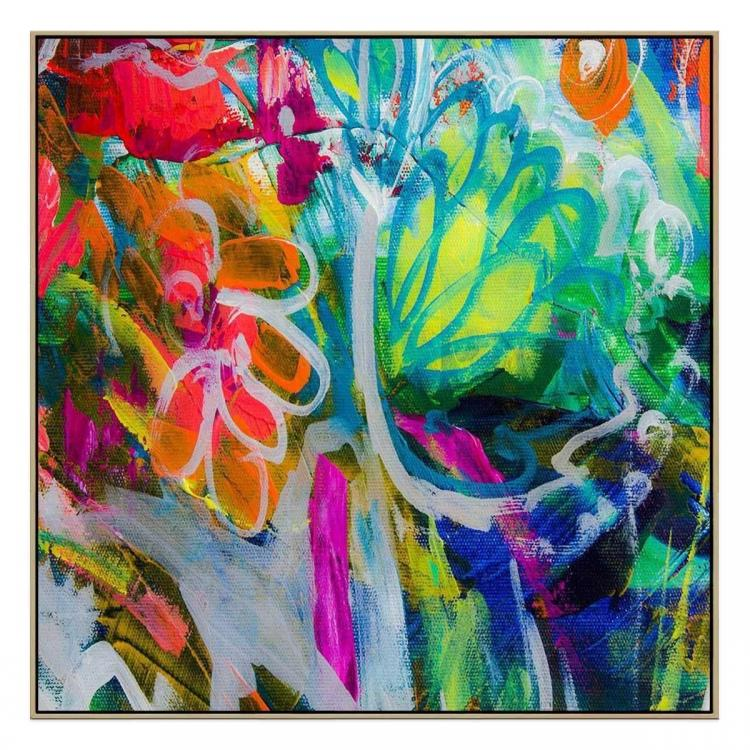 Fluro Blooms - Print - Natural Floating Frame (FLASH SALE)