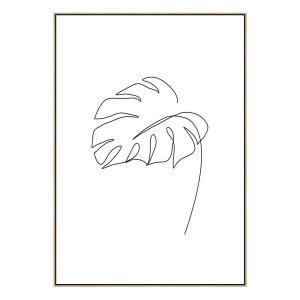 Minimal Monstera - Canvas Print - Natural Frame - ONE ONLY