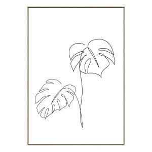 Monstera 2 - Canvas Print - Natural Frame - ONE ONLY