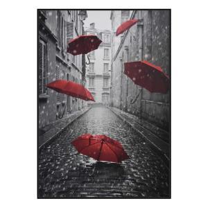 Raining Umbrellas - Canvas Print - Black Shadow Frame - (Clearan