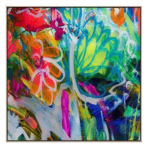 Fluro Blooms - Print - Natural Floating Frame (Showroom Clearanc