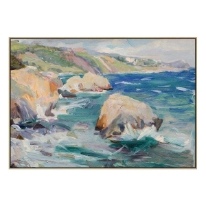 Torquay Rocks - Painting -Natural Floating Frame