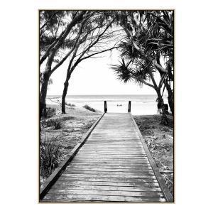 Broadbeach Boardwalk - Print - Natural Floating Frame