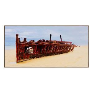 Maheno Shipwreck  - Print - Natural Floating Frame