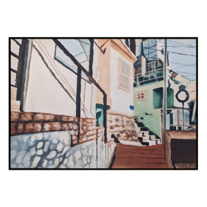 Street With No Name - Painting - Black Floating Frame