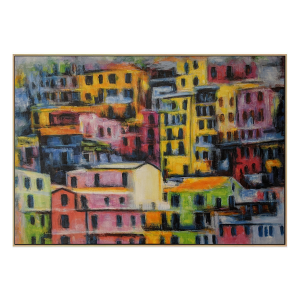 Vernazza Town - Painting - Natural Floating Frame