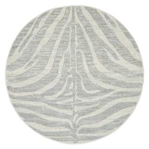 Chrome Savannah Rug - Silver - Round