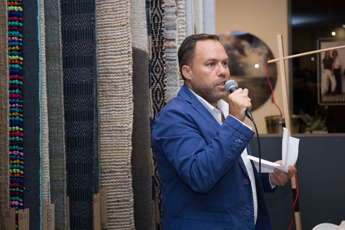 united interiors launch james treble speech showroom opening party