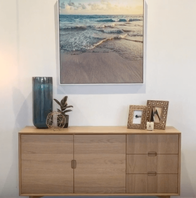 how to style a sideboard 3 ways james treble united interiors coastal canvas print