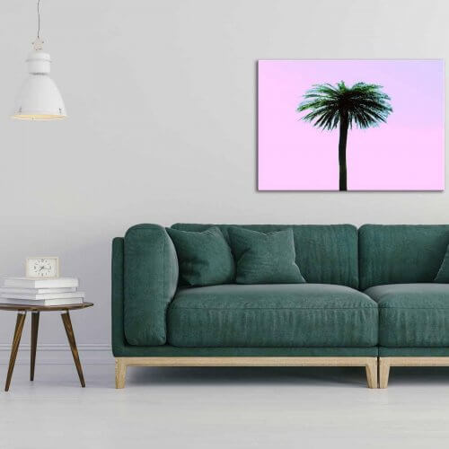 pink palm canvas print palm springs